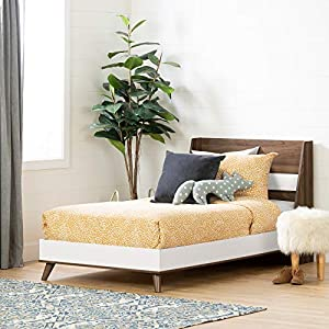 South Shore Yodi Complete Bed-Twin-Natural Walnut and Pure White