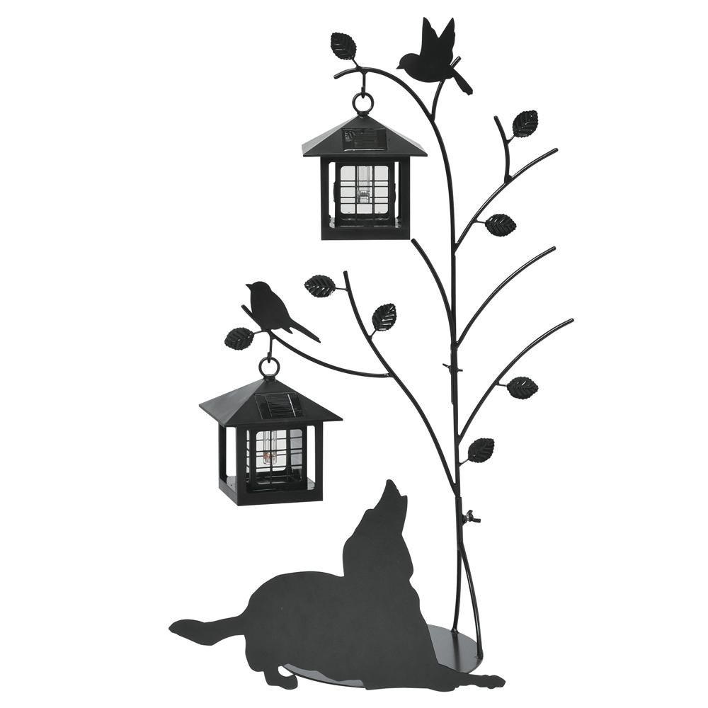 日用品 ガーデニング 花 植物 DIY 関連商品 シルエットソーラー(Tree&Dog)2灯 SI-1955-1300 B076B8D8SG 16333