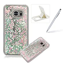 For Samsung Galaxy S7 Case,Herzzer Luxury Back Cover for Samsung Galaxy S7,Creative Dynamic Love Heart Glitter Quicksand Sparkle Running Flowing Liquid Floating Bling Shiny Transparent Case