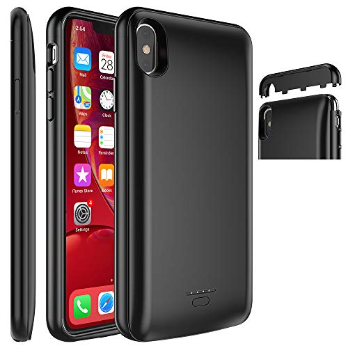 iPhone Xs Max Battery Case, DX Star 5000mAh Extended Battery Magnetic Design Rechargeable Battery Charging Case Protective Case [Support Headphone] Compatible iPhone Xs Max 6.5 Inch, Black (2018)