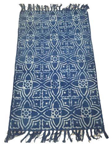iinfinize - Indian 100% Cotton Kilim Floral Print Rag Rug Carpet Indoor Outdoor Decor 2 x 3 Ft Dhurrie Fringes Lace Floor Runner Area Rug Kilim Throw (IIN-CRU-74) (Dhurrie Area Cotton Rugs)