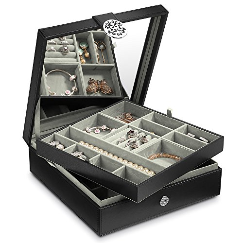 - Cozzine Jewelry Organizer Box, 2-Layer 24 Section Storage Box Case with Large Mirror for Women Girls, Holder for Ring Earring Necklace Bracelet(Black)