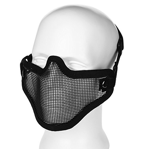 Flexzion Airsoft Paintball Mask Half Face Metal Mesh BB Field Tactical Strike Protection Safety Guard Protector for Cosplay Biker Hunting Wargame with Adjustable Strap (Metal Face Paint)