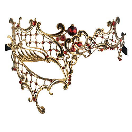 Xvevina Exquisite High-end Unique Vintage Red Rhinestone Laser Cut Metal Masquerade Mask Women -