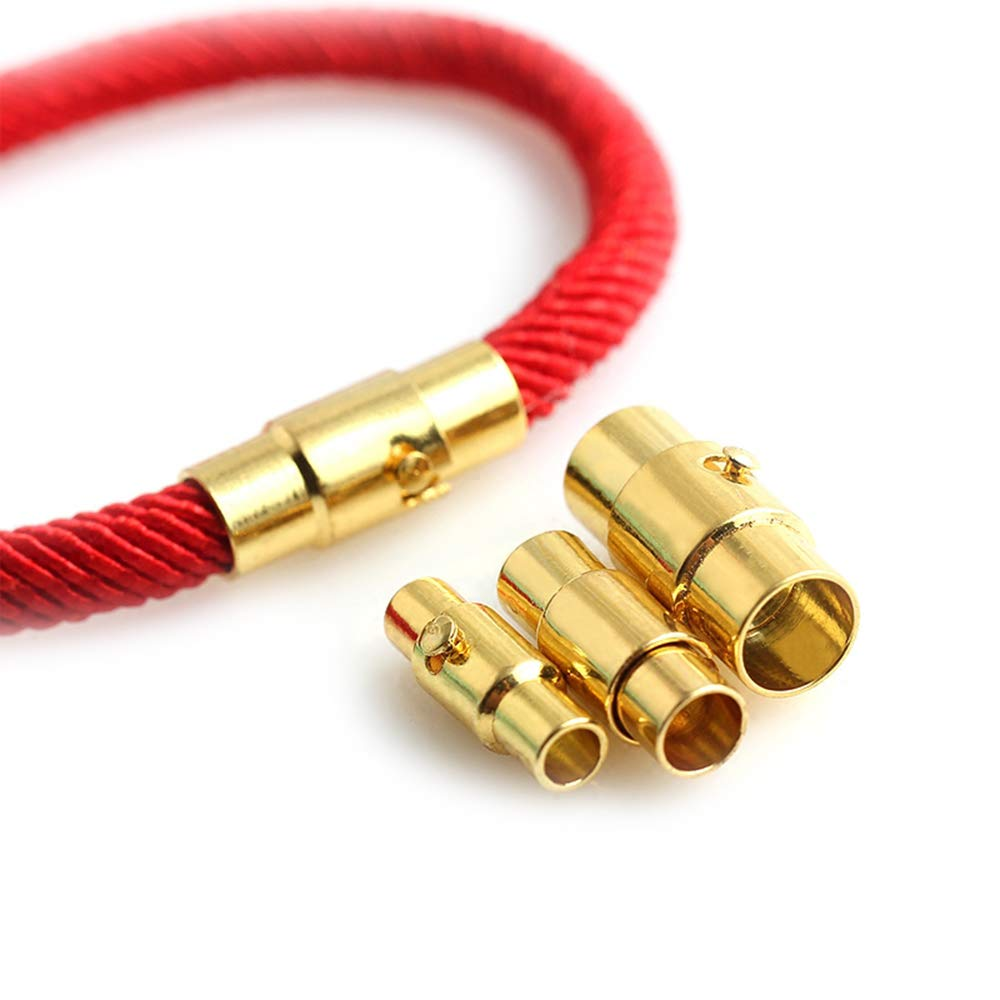 REVEW 20PCS Cord End Caps for Jewelry Making, Magnetic Clasps for Leather with Locking Leather Rope Necklace/Bracelet Buckle(Silver Gold 8) 4336826358