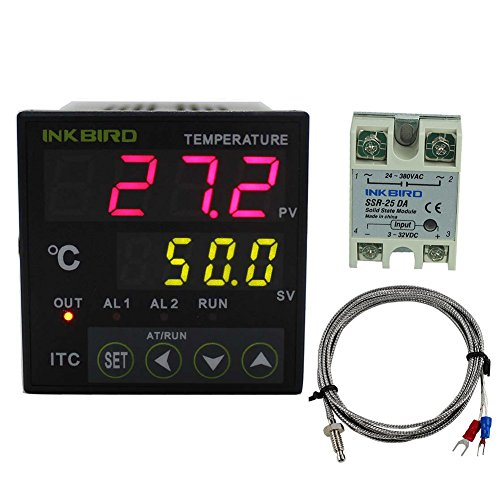 Inkbird Dual Digital PID Temperature Controller 2 Omron Relay Output Black ITC-100RL +K sensor + 25A SSR Solid State Relay