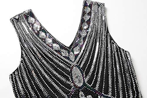 1920 Mujer Década A Vestido Plateado Mogu La Elegante De Vintage YF7nPdq