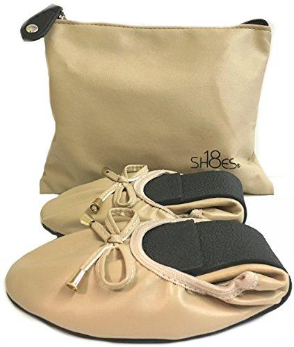Shoes8teen Kvinners Sammenleggbar Ballerina Ballett Leiligheter M / Bow 15 Farger Naken 1180