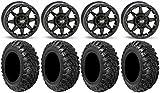 Bundle - 9 Items: STI HD5 14'' Beadlock MB Wheels 28'' Kanati Mongrel Tires [4x137 Bolt Pattern 10mmx1.25 Lug Kit]