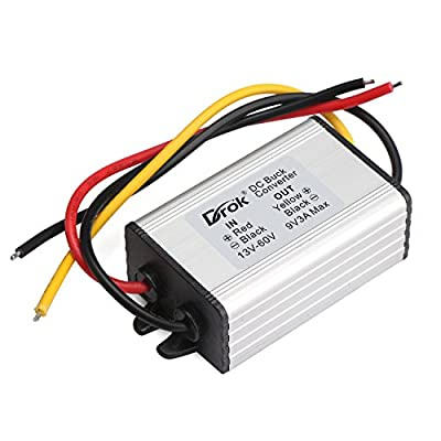 DROK® Waterproof Adjustable Output Voltage Regulator DC DC Buck Converter 8-22V to 1-15V 5V 12V 3A Power Supply Transformer Step-down Volt Module Board for Car Auto Vehicle Motor Regulated SR