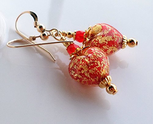 Red Gold Murano Heart Earrings by H&H Jewelry Designs