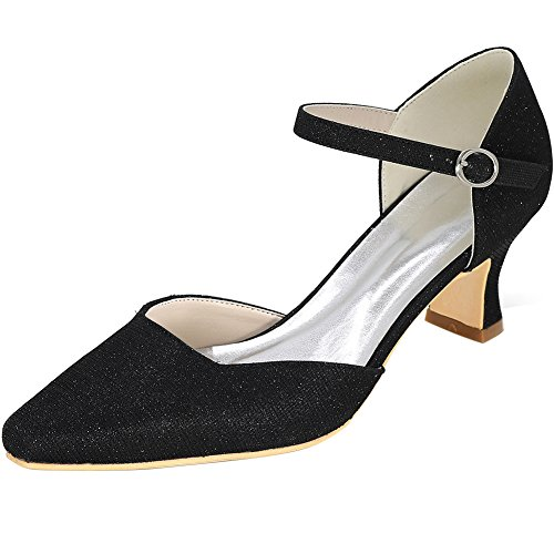 Loslandifen Mujeres Point Toe High Heels Elegant Glitter Pumps Boda Zapatos De Novia Negro