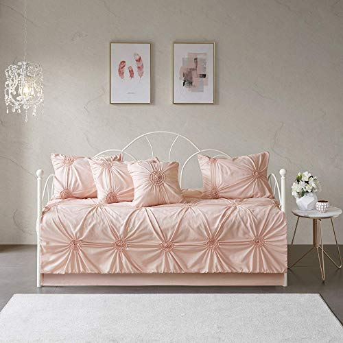 Madison Park Leila 6 Piece Reversible Daybed Cover Set Blush Daybed (Renewed)