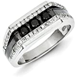 Sterling Silver Rhodium Plated Black and White Diamond Mens Ring - Ring Size Options Range: R to T