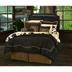 HiEnd Accents Embroidered Barbwire Western Comforter Set, Queen, Chocolate