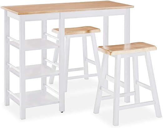 vidaXL Set Muebles Bar 3 Piezas Blanco Mobiliario Mesa Silla Alta ...