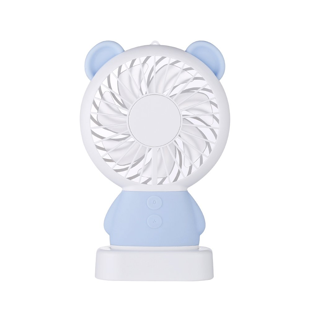 Portable USB Charging Noiseless Handheld Fan 2 Speed Adjustable Rechargeable USB for Travelling Outdoor Office Creative Cooling Mini Fan with Colorful Led Night Light