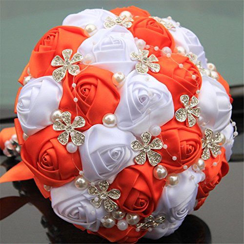 Advanced Customization Romantic Bride Wedding Holding Bouquet Roses with Diamond Pearl Ribbon Valentine's Day Bouquet Confession Many Colors for Choose 18cm - Bridal Bouquet Orange
