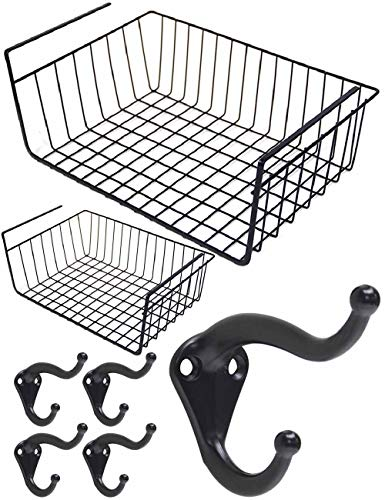 2PCS Black Under Shelf Basket Rack Bathroom Shelf Iron Wire Hanging Storage Basket For Living Room Bathroom Organizer Wire Basket Kitchen Pantry Cabinet 5 Black Coat Robe Hooks Hat Purse Belt Hanger - Hanging Basket Collection