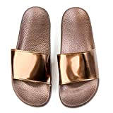 JINKUNL Women's Furry Slippers Open Toe Indoor Outdoor Casual Flat Slide Sandals Gold