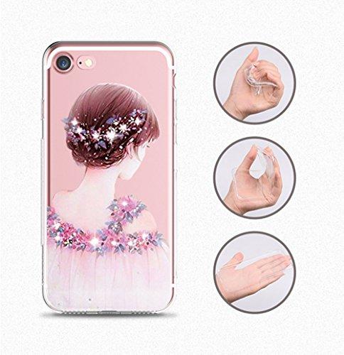 Sottile Custodia iphone 8 Morbida 8 TPU 7 5 Bordo scintillante Silicone per Case 7 Completa iPhone Cristallo Trasparente Apple Cover diamante Proteggi Copertura HIwqpPx0
