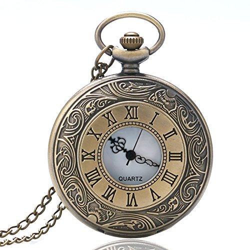 Pokect Relojes de bolsillo, diseño de números romanos antiguos, regalo para hombres: Amazon.es: Relojes