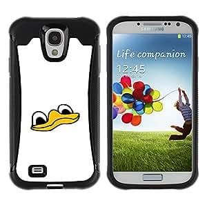 KEIZZ Cases / Samsung Galaxy S4 I9500 / Cute Funny Duck Face / Robusto Prueba de choques Caso Billetera cubierta Shell Armor Funda Case Cover Slim Armor
