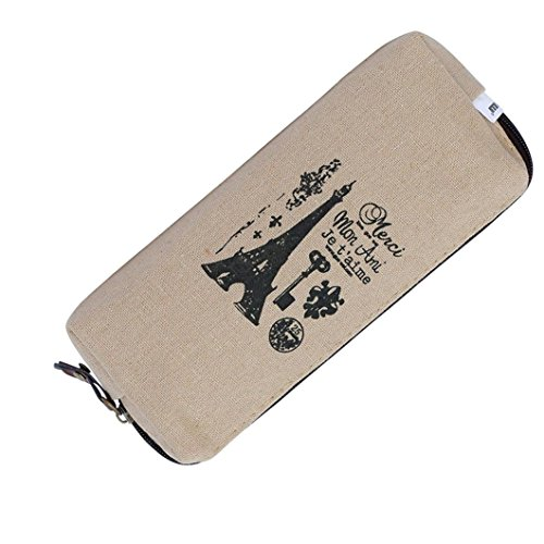 - Gbell Vintage Canvas Pencil Case For Girls- Lady Coin Purse Pouch Cosmetic Makeup Pen Bag Holder Storage Purse- 18x8 CM,White White Gray Brown (C)