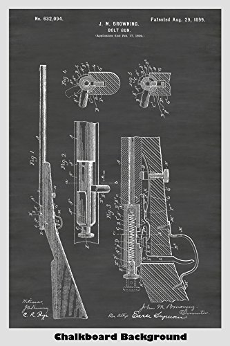 Browning Winchester Bolt RIfle Patent Print Art Poster: Choose From Multiple Size and Background Color Options