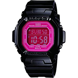 51AGSZ71UYL. SS300  - Casio Women's BG5601-1DR Baby-G Square Luminous Color Black Digital Watch