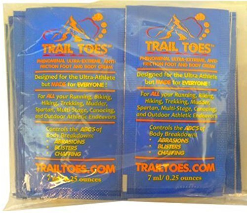 Trail Toes 7 Gram (70g Total)-10 Single Use Phenomenal Ultra Extreme Anti Friction Foot AND Body Cream Packets