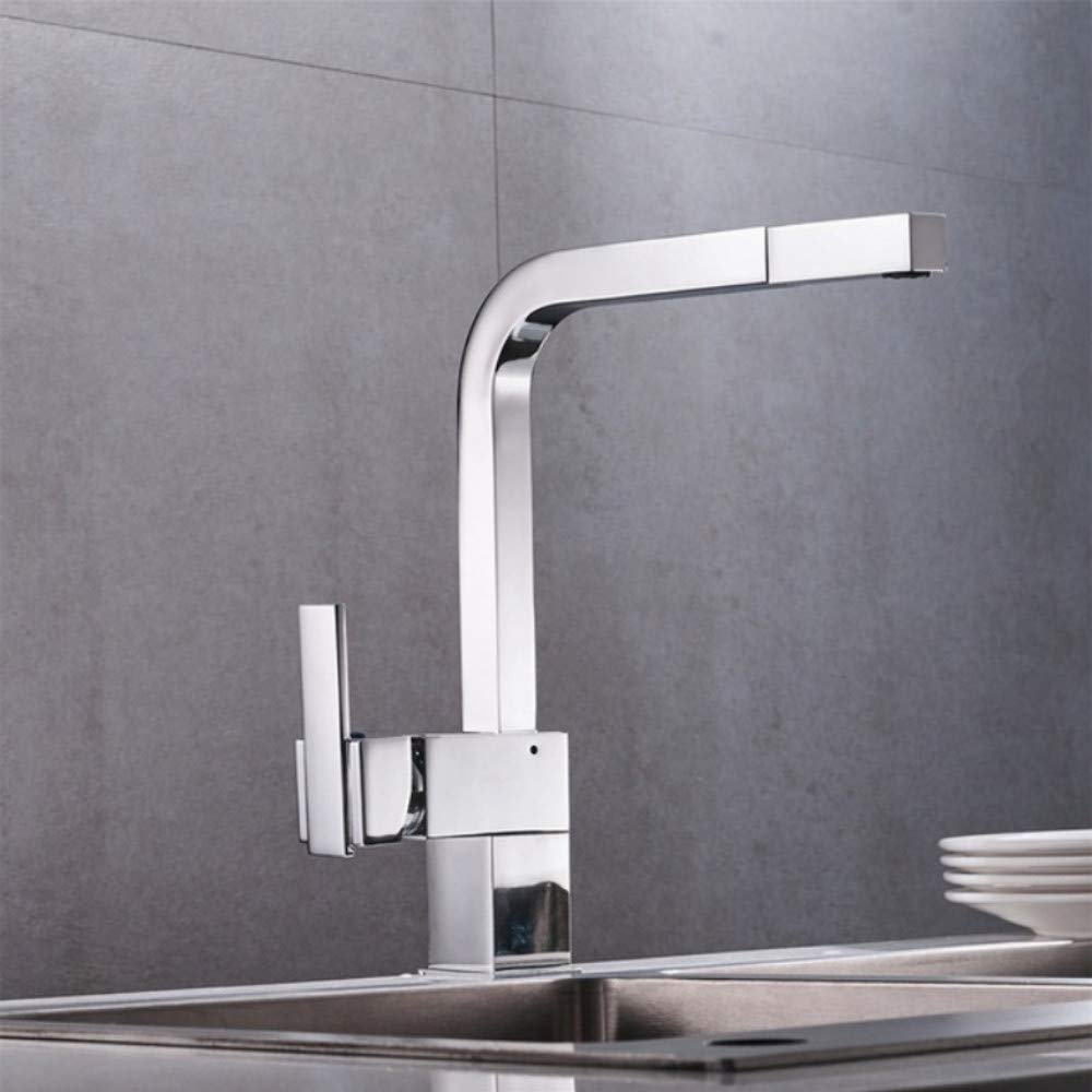 Lddpl New Chrome Pull Out Kitchen Faucet Square Brass Sink Kitchen Faucets Pull Out Kitchen Tap 18