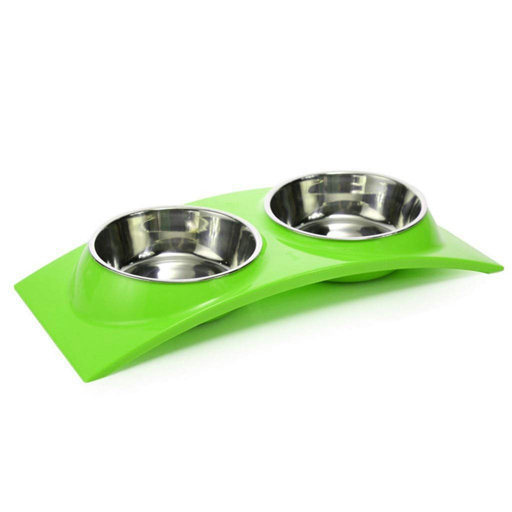 14.966.491.96inchs Green 14.966.491.96inchs Green Cat Dog Food and Water Bowls Stainless Steel Double Pet Bowls Plastic Arched Cat Dog Bowls Drinking Fountains Pet Supplies (color   14.96  6.49  1.96inchs, Size   Green)