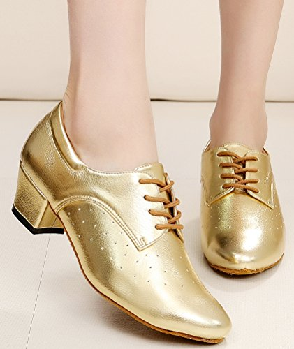 CFP JJ-7010 Womens Practice Beginner Sneaker Block Heel Round-toe Leather Dance-shoes Gold zEsni