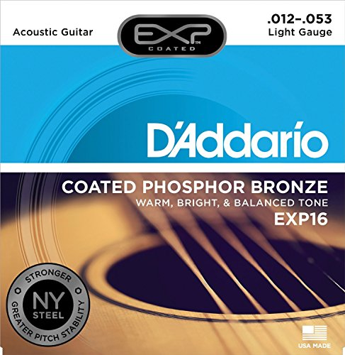 - D'Addario EXP16 Coated Phosphor Bronze Acoustic Guitar Strings, Light, 12-53 - Offers a Warm, Bright and Well-Balanced Acoustic Tone and 4x Longer Life - With NY Steel for Strength and Pitch Stability