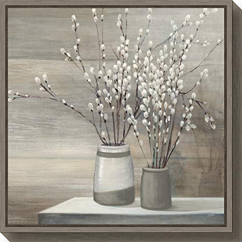 (Amanti Art Pussy Willow Still Life Gray Pots Crop by Julia Purinton Canvas Art Framed, Medium Sylvie Greywash, 240611)