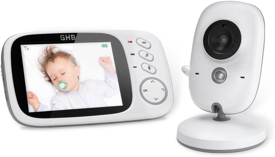 GHB Bébé Moniteur 3.2 Inches LCD Couleur Babyphone Caméra Vidéo Bébé Surveillance 2.4 GHz Bidirectionnelle Vision Nocturne
