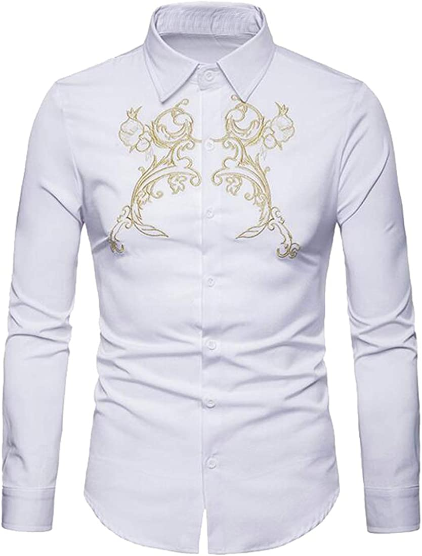 FSSE Mens Embroidery Casual Business Button Up Slim Long Sleeve Dress Shirts