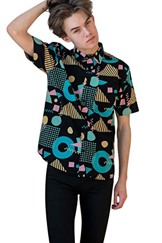 l Button-up Icon-Printed Woven Shirts (Large, 80s-black-1909) ()