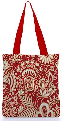 Snoogg Floral Rot und White13.5 x 15 Zoll-Shopping-Dienstprogramm-Einkaufstasche aus Polyester-Segeltuch gemacht