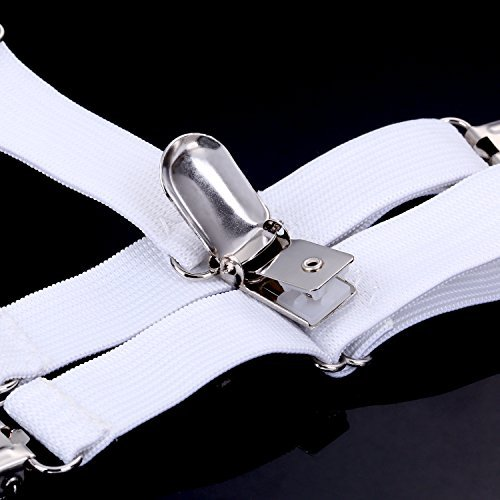 Hestya 12 Pieces Sheet Straps Suspenders Adjustable Bed Sheet Fasteners Metal Clips Elastic Fasteners Grippers for Home Supplies White