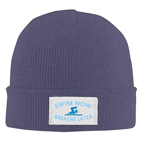 Swim Now Breathe Later Acrylic Knit Beanie Hat Navy ()