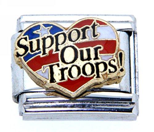 Flag Heart Italian Charm - Support Our Troops On Heart Shaped US Flag Italian Charm Bracelet Link