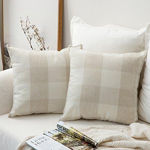 MIULEE Pack of 2, Classic Retro Checkers Plaids Cotton Linen Soft Soild Christmas Decorative Square Throw Pillow Covers Home Decor Design Set Cushion Case for Sofa Bedroom Car 18 x 18 Inch 45 x 45 Cm