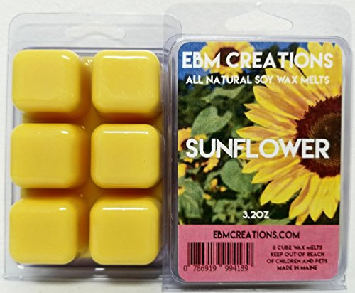 Home Collection Soy Wax Candle - Sunflower - Scented All Natural Soy Wax Melts - 6 Cube Clamshell 3.2oz Highly Scented!