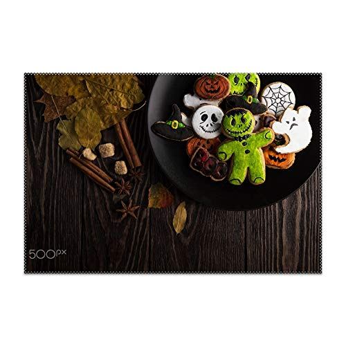 Boeshkey Non-Slip Insulation Halloween Sweets Biscuit Food Placemat Washable Table Mats Easy to Clean