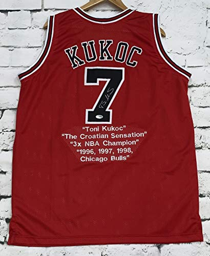 (Toni Kukoc Signed Autographed Chicago Bulls Red STAT Basketball Jersey - Beckett COA)
