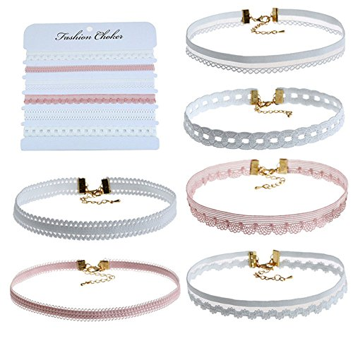 Tidoo Jewelry 6 Pieces Women Choker Necklaces Colorful Velvet Stretch Lace Choker Set for Girls