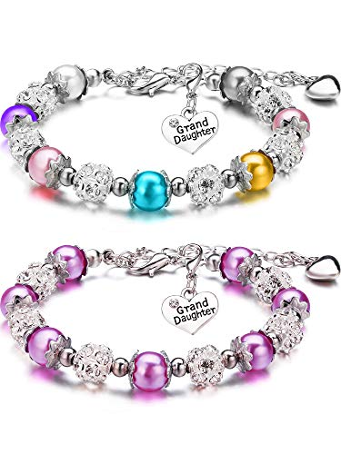 2 Pieces Granddaughter Bracelets Charm Heart Pendant Rhinestone Crystal Balls Faux Pearls Jewelry Gift (Multi-color + Purple B)