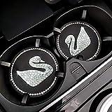 Amtorun Car Coasters ,Bling Car Accessories for Women, Universal 2.75 inch Silicone Anti Slip Crystal Rhinestone Car Cup Holder Coasters